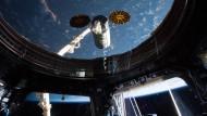 Hallo, der Lieferdienst ist da: Blick von der Aussichtskuppel der ISS auf das Andocken der Cygnus-Kapsel, die unter anderem das Quantenexperiment mitbrachte.