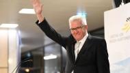 Positiv gestimmt nach den ersten Porgnosen zum Ergebnis der Landtagswahl: Winfried Kretschmann