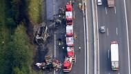 Die Unfallstelle auf der Autobahn 9 bei Münchberg am Montag