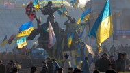 Politik im Zeichen der Leidenschaften: Blick auf den Kiewer Unabhängigkeitsplatz während des Protests