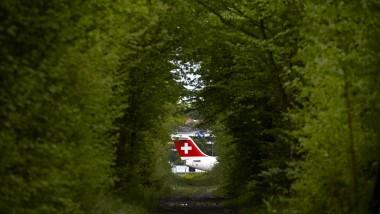 An der Schweizer Grenze nach Frankreich: Ein Flugzeug auf dem Genfer Flughafen