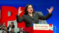 SPD-Fraktionschefin Andrea Nahles wirbt für eine Neuauflage einer Koalition mit der Union.