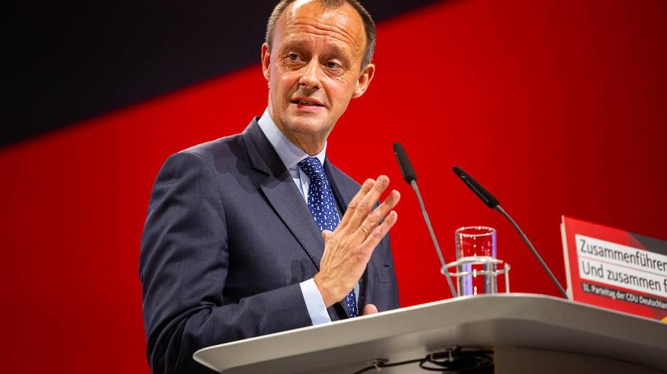 Friedrich Merz bei seiner Rede auf dem Bundesparteitag der CDU im Dezember 2018