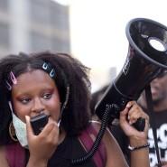 Demonstrantin im amerikanischen Bundesstaat Atlanta