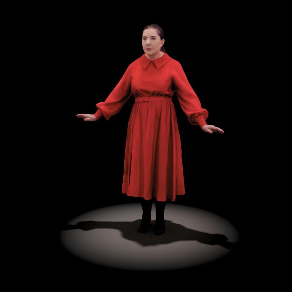 """Unsterblich, aber auch ziemlich leblos: Die Mixed-Reality-Projektion der Performance-Künstlerin in ihrer Installation """"The Life"""" (2019)."""