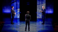 Mark Rutte (links) und Geert Wilders (rechts) im TV-Duell zwei Tage vor den Wahlen.