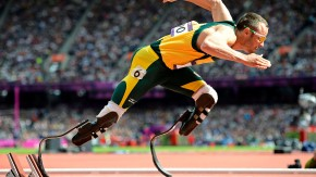 File photo of South Africa's Oscar Pistorius starting his men's 400m round 1 heats at the London 2012 Olympic Games at the Olympic Stadium