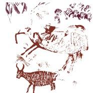 Das Wildrind (links) ist in dieser Umzeichnung der Höhlenmalereien aus Borneo leicht zu erkennen. In Rot die Pigmentflächen, die vor mindestens 40.000 Jahren aufgetragen wurden. Die violetten Handumrisse sind dagegen nur 16.000 Jahre alt.