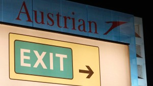 An exit sign is pictured at the Vienna International Airport in Schwechat