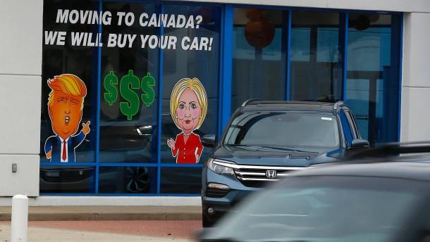 Viele Amerikaner wollen nach Kanada auswandern