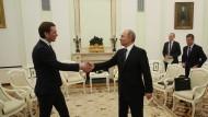 Pas de deux: Sebastian Kurz und Wladimir Putin am Mittwoch in Moskau.