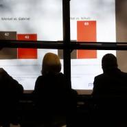 Hineinfotografiert ins Willy Brandt-Haus: Sigmar Gabriel blickt auf die Beliebtheitswerte.