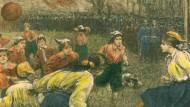 London, Crouch End, 23. März 1895: Szene vom ersten regelkonformen Frauenfußballspiel der Geschichte