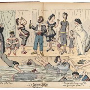 """Edmond Lavrate (1829 bis 1888) hielt in seiner Zeichnung """"Les bains froids des Mesdames"""" von 1879 das Badeleben seiner Zeit fest."""