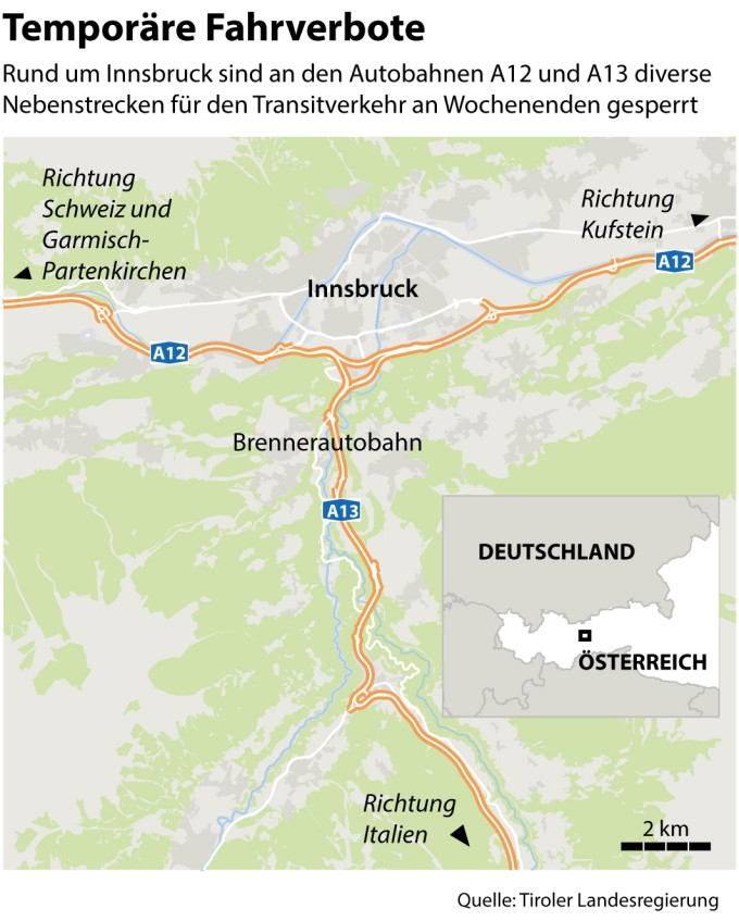 Karte Deutschland österreich.In österreich Verhängen Salzburg Und Tirol Fahrverbote