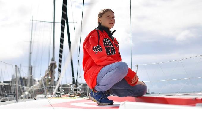 Posiert auf der Yacht: Greta Thunberg