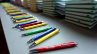 Selber schreiben – hier sogar auf Papier: Kugelschreiber bei einer Google-Veranstaltung.