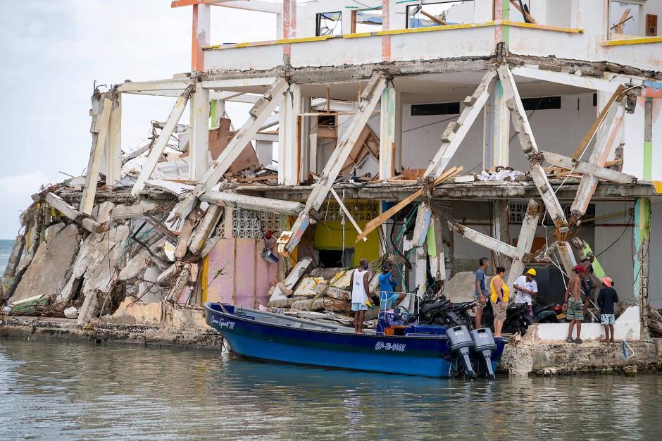 In Providencia, Kolumbien, wurde durch den Hurrikan ein Haus schwer beschädigt.