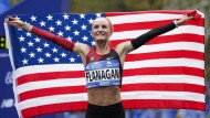 Shalane Flanagan nach ihrem Marathon-SIeg in New York