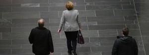 Angela Merkel nach dem ersten Gespräch mit der CDU