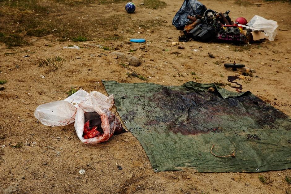Eine mit Robbenblut verschmierte Plane erzählt von den wenigen glücklichen Fängen der letzten Zeit.