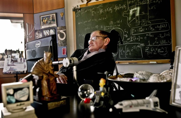 Physicist Stephen Hawking is seen in his office at the University of Cambridge in this photo handed out by the Science Museum