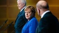 Horst Seehofer (CSU), Angela Merkel (CDU) und Martin Schulz (SPD) präsentieren die Ergebnisse der Sondierungsgespräche.