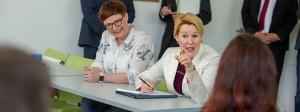 Franziska Giffey in der Berufsfachschule für Altenpflege im Johannesstift in Berlin-Spandau