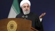 Der iranische Prsident Hassan Rohani bei einer Rede in Teheran.