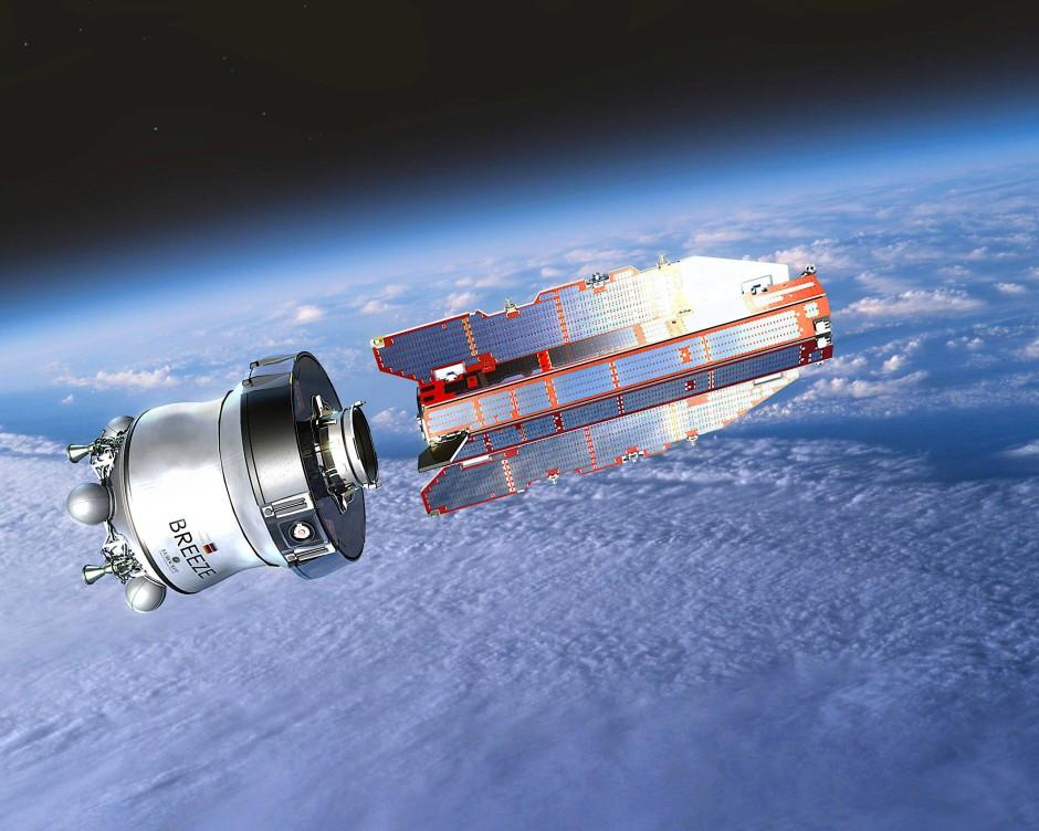 Künstlerische Darstellung des Europäischen Forschungssatelliten Goce bei der Trennung von der Raketenoberstufe.