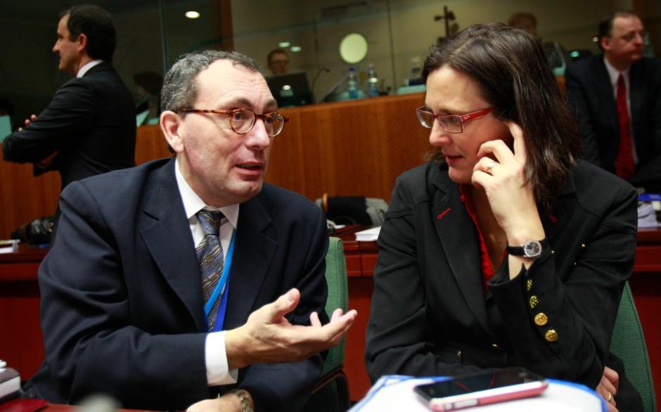 Stefano Manservisi mit der EU-Justizkommissarin Cecilia Malmstroem