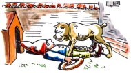 """Quizfrage für höhere Semester – Wem unterwirft sich hier der deutsche Michel: a) einer amerikanischen Bulldogge namens Donald, b) einem russischen Kampfhund, der """"Friedensfürst"""" heißt, oder c) einem türkischen Herdenschutzhund, dessen Namen wir nicht nennen, weil wir auf keinen Fall die gerade erst erteilte Besuchserlaubnis für unsere Abgeordneten gefährden wollen?"""