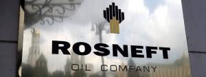 Rosneft-Logo am Hauptsitz des Ölkonzerns in Moskau
