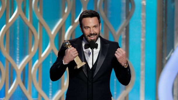 "Ben Affleck accepts the award for Best Director - Motion Picture for ""Argo"" on stage on at the Golden Globe Awards in Beverly Hills"