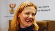 Catherine McGrown, die Frau der freigelassenen Geisel, am Donnerstag auf einer Pressekonferenz