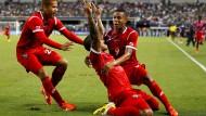 Panamas Spieler freuen sich über das 1:0 gegen Mexiko.