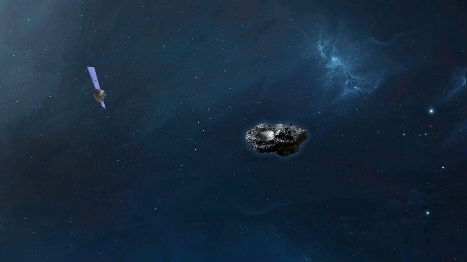 Ein Asteroid in einer Computersimulation – zusammen mit der Abwehrsonde Hera