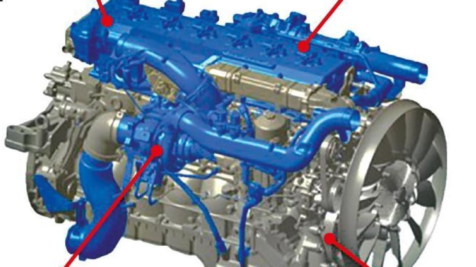 Überwiegend Kopfsache: An den eingezeichneten Stellen wird der Lastwagenmotor von MAN für den Wasserstoffbetrieb umgerüstet. Die Veränderungen sind überschaubar, allerdings sinkt die Leistung etwas.