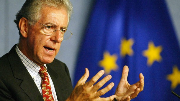 File photo of former European Commissioner Mario Monti during a news conference in Brussels