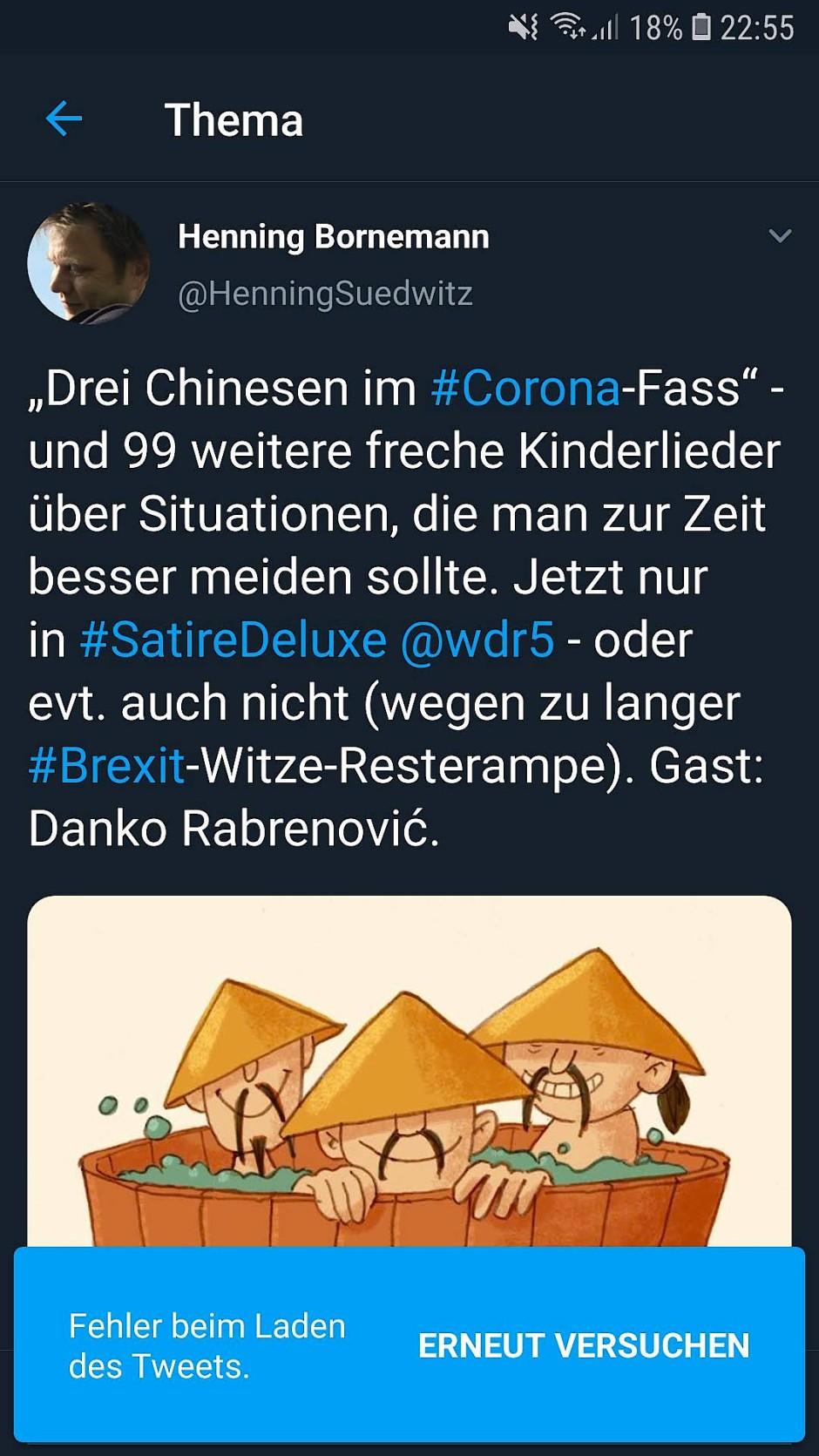 """Diesen Tweet hat Henning Bornemann mittlerweile gelöscht. Er kündigte damit vermeintlich ein """"Satirelied"""" mit dem Titel """"Drei Chinesen im #Corona-Fass an"""""""