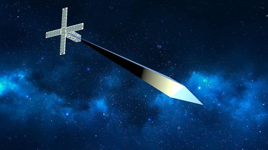 """Eine grafische Darstellung des Satelliten """"Orbital Reflector"""""""