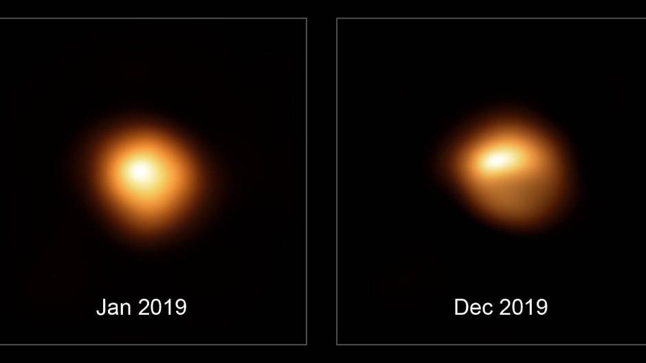 Die Verdunkelung des Sterns Beteigeuze, aufgenommen mit dem Sphere Instrument am Very Large Telescope der Eso.