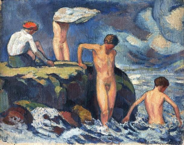 """Ludwig von Hofmann (1861 bis 1945) malte sein Bild """"Brandung"""" 1910."""