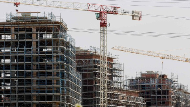 Buildings under construction are seen in the outskirts of Rome