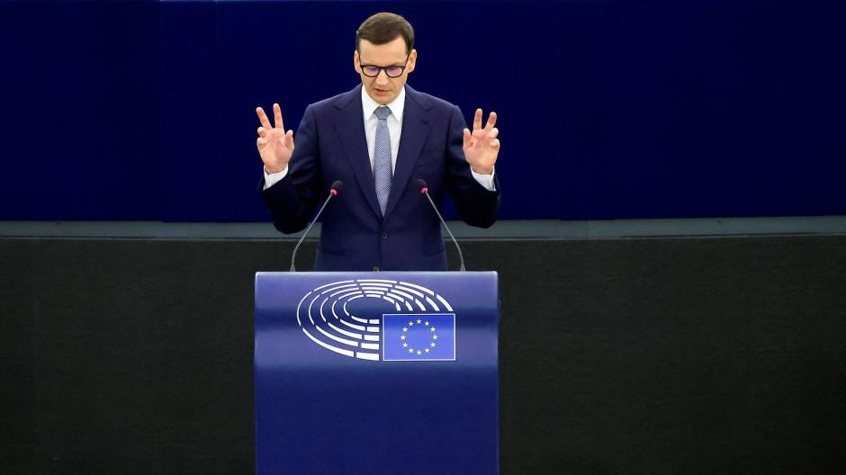 Kein Einlenken: Polens Ministerpräsident Mateusz Morawiecki am Dienstag im Europaparlament in Straßburg
