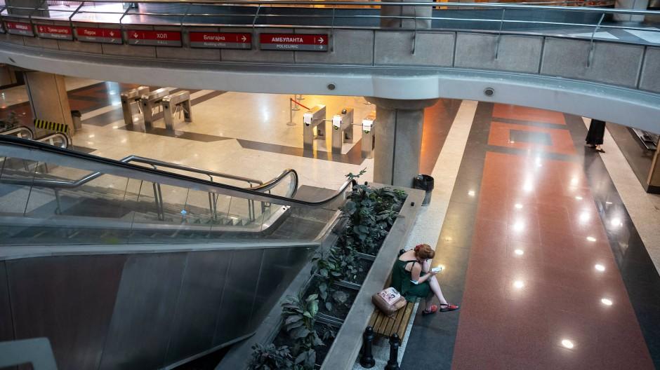 "Die U-Bahn-Station ""Vukov Spomenik"" in Belgrad am 08.07.2021. Die Station ist die einzige U-Bahn-Station in Belgrad."