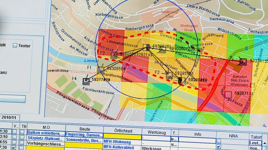 """Wo wird wann eingebrochen werden? Benutzeroberfläche der Prognosesoftware """"Precobs"""" bei einem Test in Oberhausen 2014."""