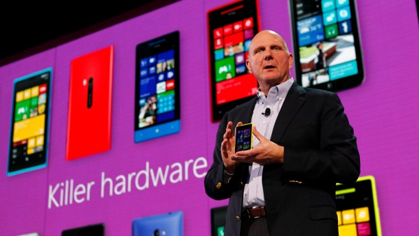 Microsoft Corp CEO Steve Ballmer displays a Nokia Lumia 920 featuring Windows Phone 8 during an event in San Francisco