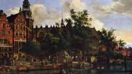 Treffpunkt der ersten Aktienhändler:Der Platz vor der Oude Kerk in Amsterdam auf einem Gemälde von Jan van der Heyden (1637–1712 ).