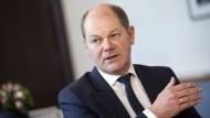 Bundesfinanzminister Olaf Scholz im Gespräch mit der F.A.Z.